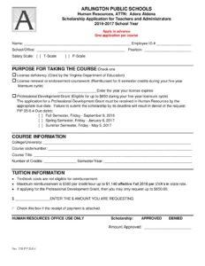Scholarship Form   Aps Scholarship Form For Teachers And Administrators Arlington