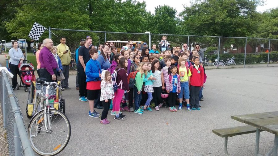 ats students with bicycles