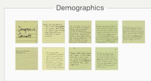 community input post-its Demographics
