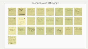community input post-its Scenarios & Efficiency