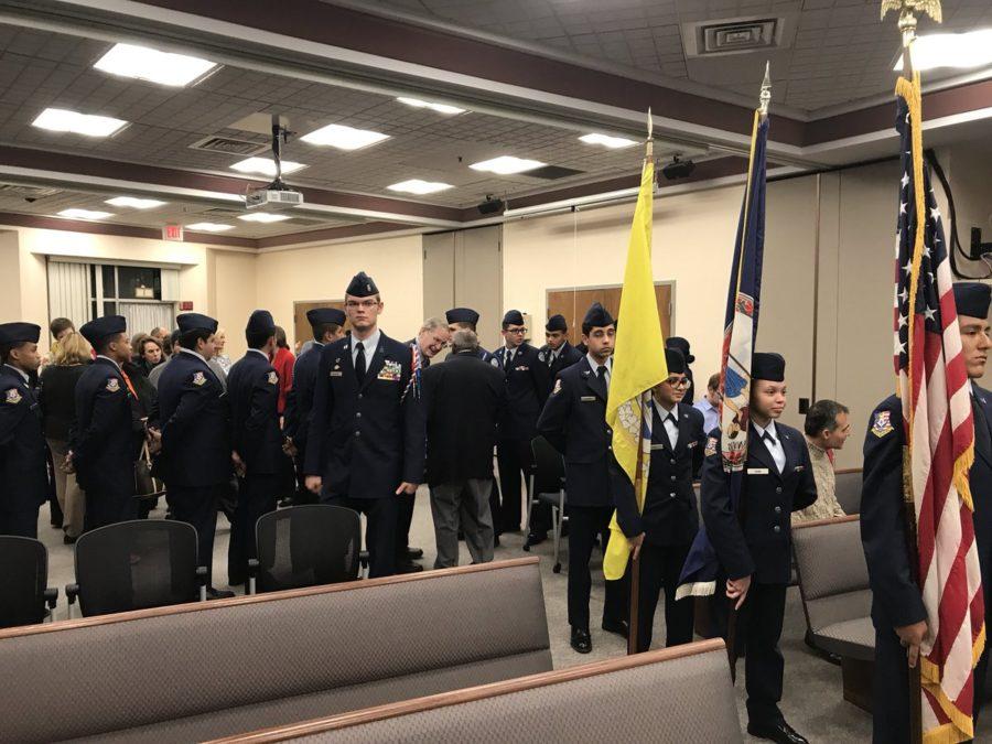 AFJROTC Color Guard at APS School Board meeting