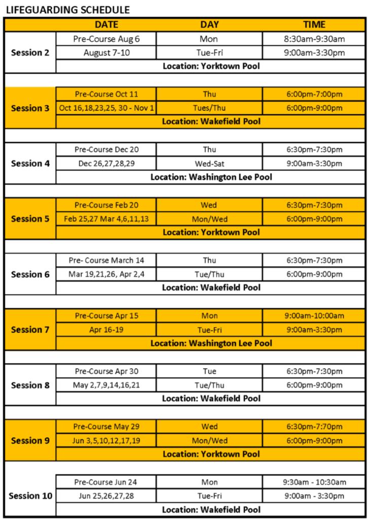 lifeguard schedule