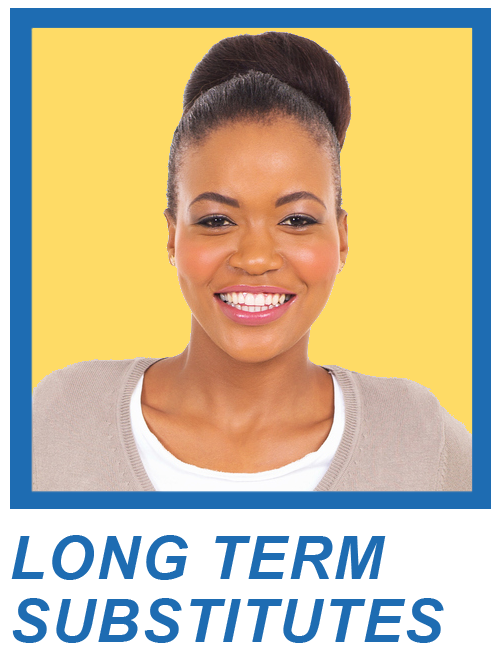 Headshot of Woman Smiling with the phrase Long Term Substitute under photo