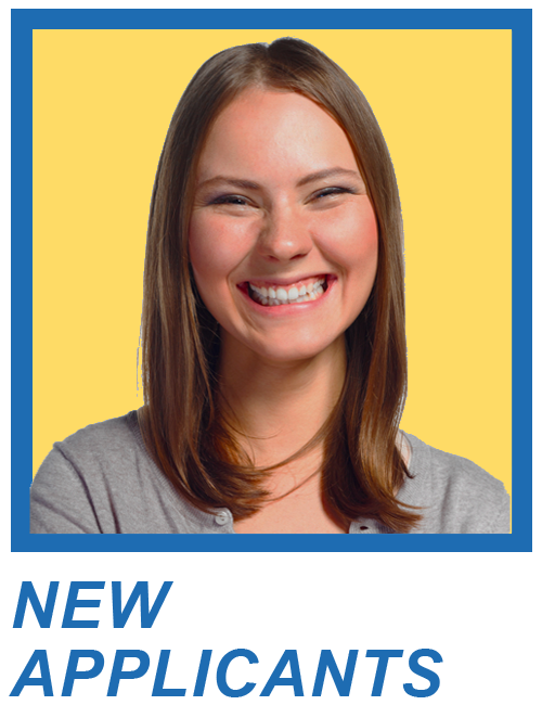 Headshot of Young Woman Smiling with the phrase New Applicants under photo
