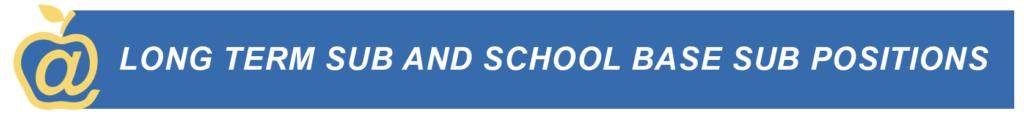 """一個黃色的蘋果坐在藍色的標語上,上面寫著""""長期分校和學校分校的職位"""""""
