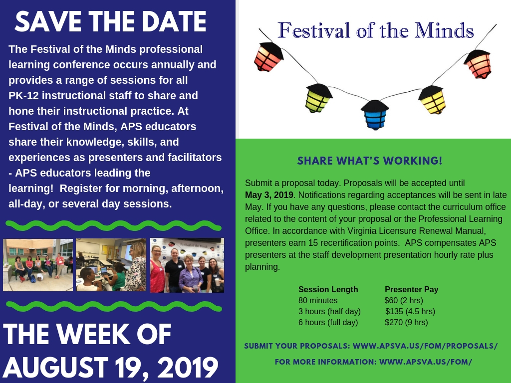 Festival of the Minds save the date and call for proposals