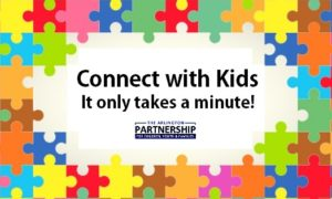 "Connect With Kids logo ""It only takes a minute"""