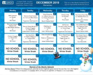 December elementary menu