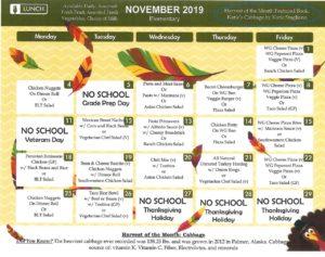 November elementary menu