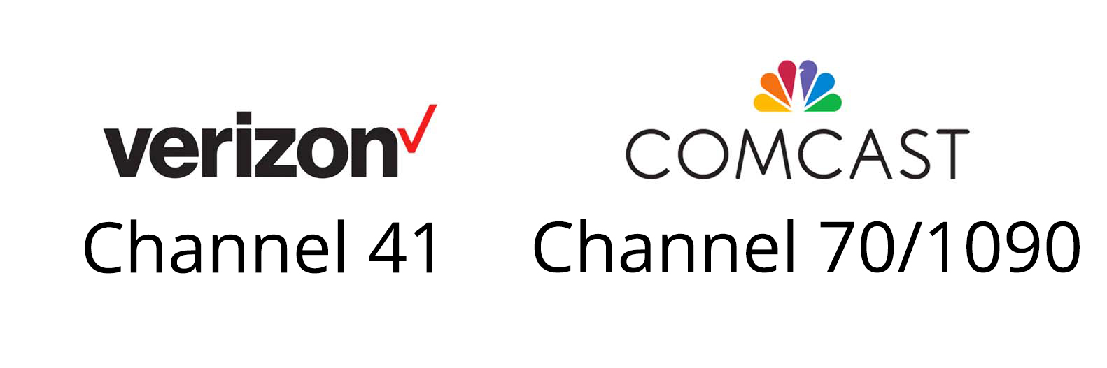 Verizon logo Channel 41; Comcast logo Channel 70/1090