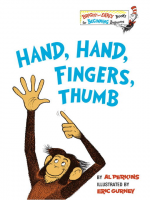 "Book Cover: ""Hand, Hand, Fingers, Thumb by Al Perkins"" with illustration of monkey pointing with one hand to his other hand."