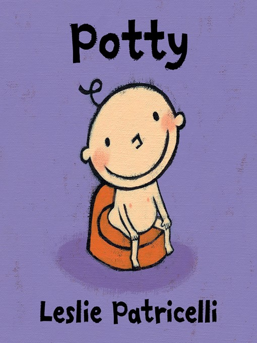 "Book cover: ""Potty Potty by Leslie Patricelli"" with illustration of young child sitting on a potty."