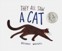"Book Cover: ""They all saw a cat, by Brendan Wenzel"" with illustration of a cat."