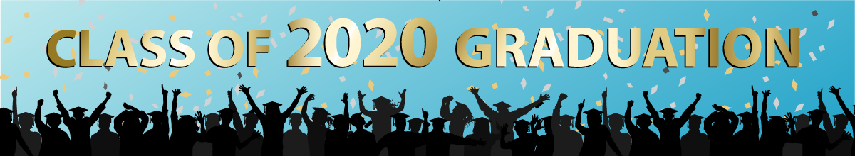 illustration of many grads in silhouette throwing confetti with the words Class of 2020 Graduation