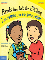 "Book Cover; ""Hands Are Not for Hitting / Las manos no son para pegar, Author: Martine Agassi, Series: Best Behavior Bilingual"" with illustration of young boy and girl."