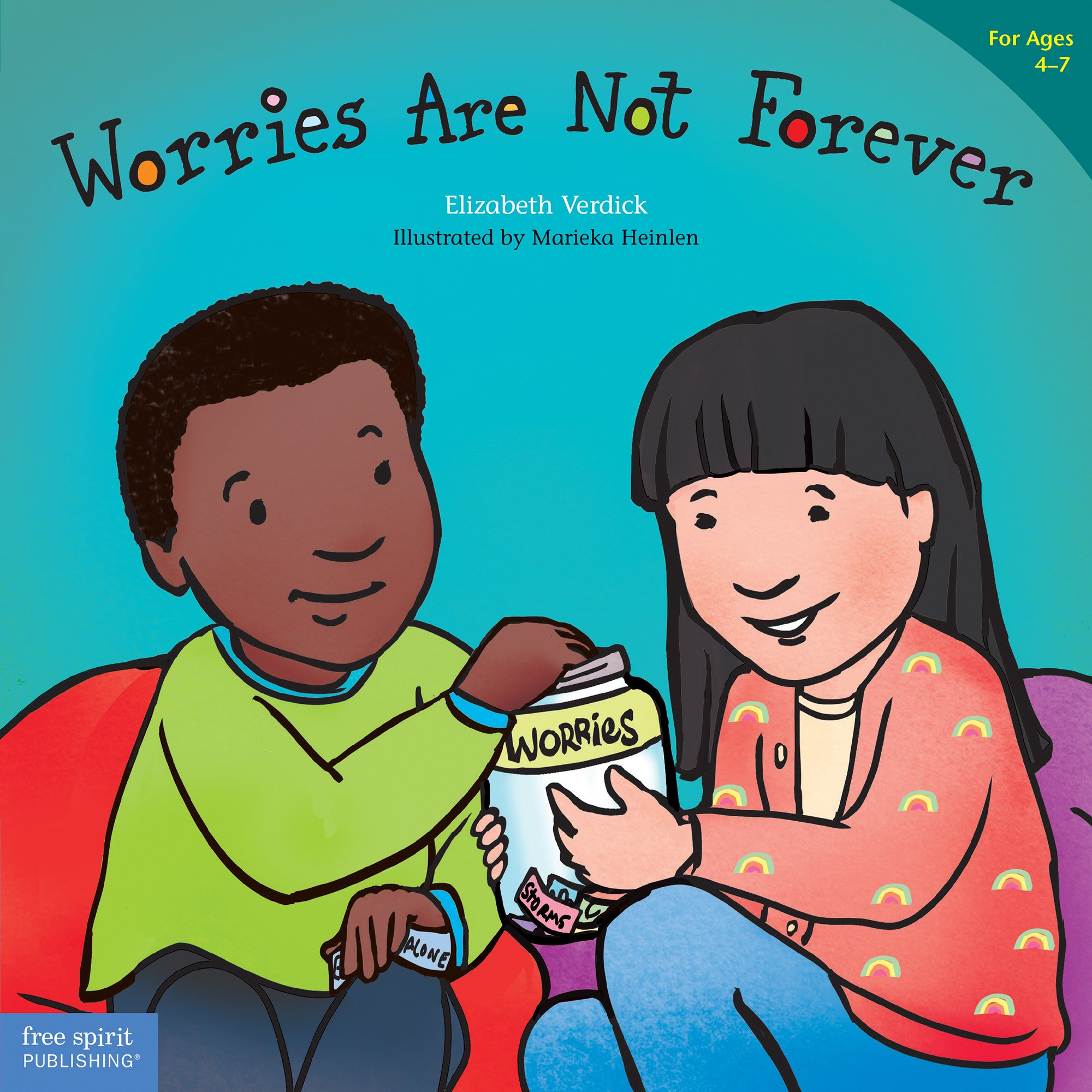 "Book Cover: ""Worries are not forever by Elizabeth Verdick (Author), Marieka Heinlen (Illustrator) (Best Behavior Series"" with illustration of two young children on the couch."