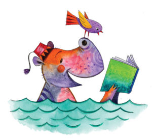 Decorative picture of a hippo and bird reading in the ocean
