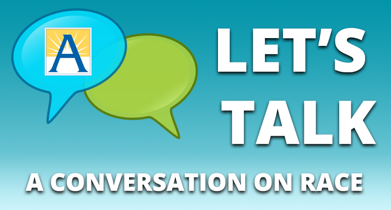 speech bubble icons, with the words Let's Talk - A Conversation on Race