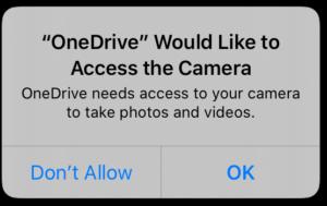 accès à la caméra