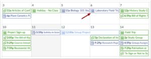 Canvas browser calendar events
