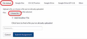 Canvas browser file upload choose file