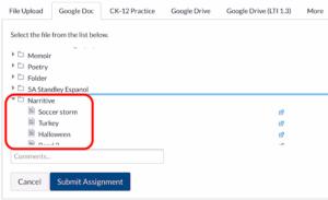 Canvas browser upload Google doc