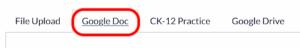 Canvas browser file upload Google doc tab