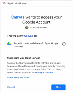 Canvas allow Google Account