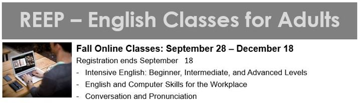 REEP English classes for adults flyer for September-December classes