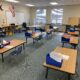 elementary classroom showing desks spaced 6 ft apart