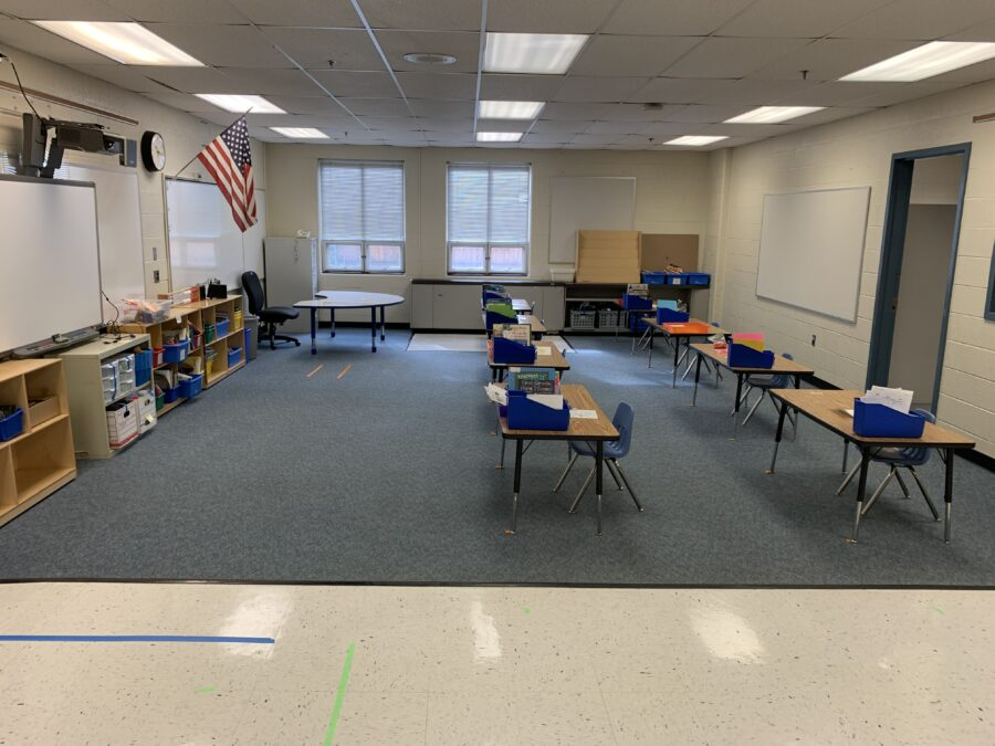 classroom with spaced desks