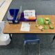 student desk with math kit materials
