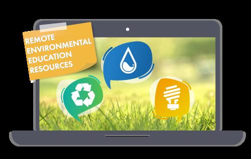 Logotipo de recursos de educación ambiental remota que muestra iconos ambientales en la pantalla de un portátil