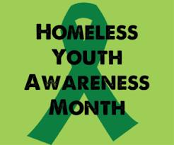 無家可歸的青年意識月徽標
