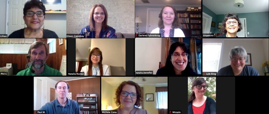 REEP staff gathering for a staff meeting and are all smiles on a Zoom call.