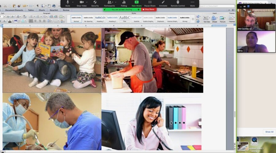 Photos of various occupations are show to a student during an online placement test for REEP English classes.