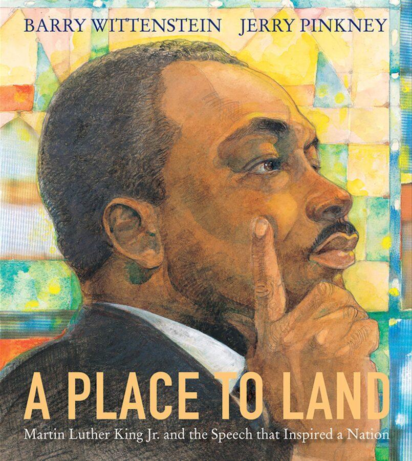 Изображение на обложке книги «Место для земли: Мартин Лютер Кинг-младший» и речь Барри Виттенштейна, вдохновившая нацию; иллюстрировано Джерри Пинкни