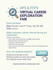 APS FCPS Virtual Career Fair Flyer für Studenten