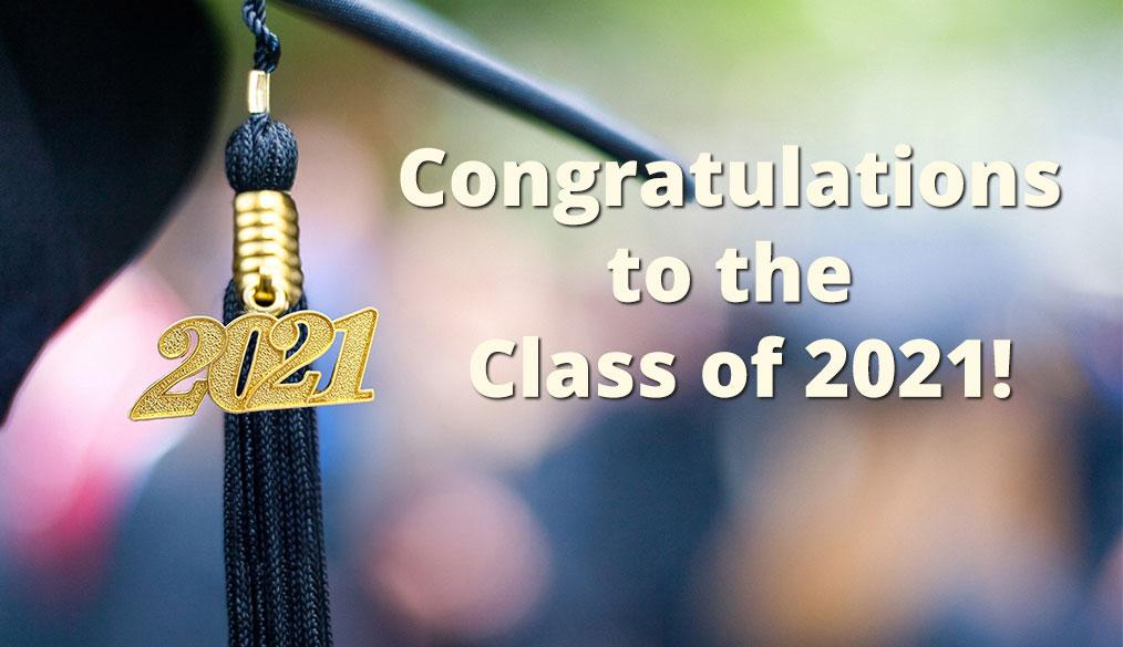 изображение выпускной фуражки с надписью «Поздравление в класс 2021 года»