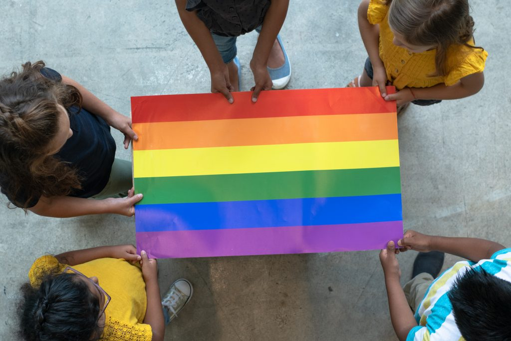 Aerial View of Multi-Ethnic Elementary Students Holding a rainbow Pride flag